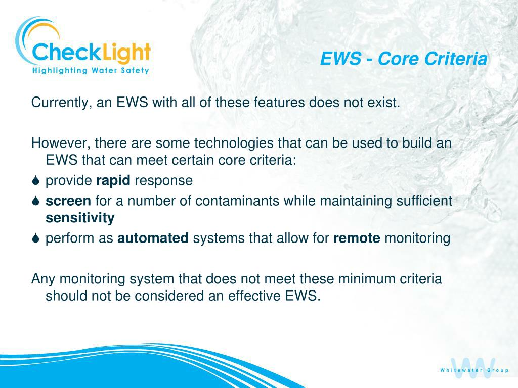 EWS - Core Criteria