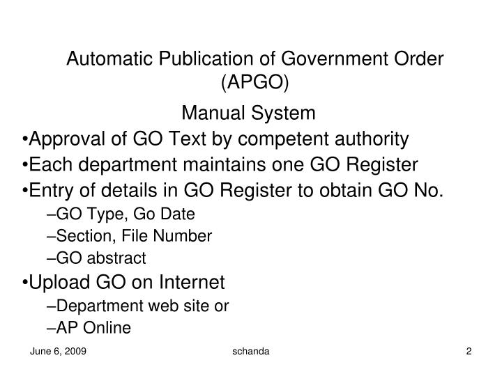 Automatic publication of government order apgo