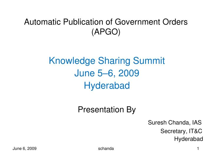 Automatic publication of government orders apgo
