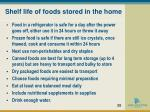 shelf life of foods stored in the home