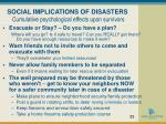 social implications of disasters cumulative psychological effects upon survivors