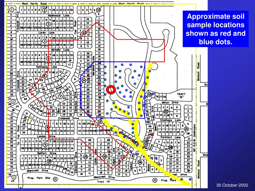 Approximate soil sample locations shown as red and blue dots.