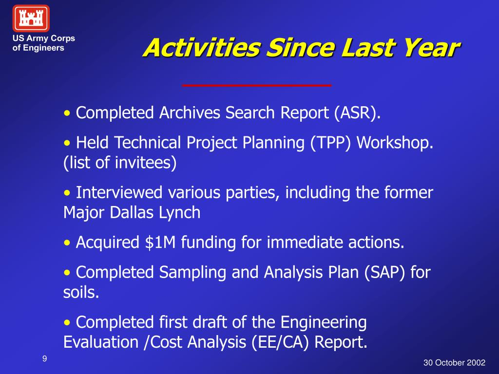 Activities Since Last Year