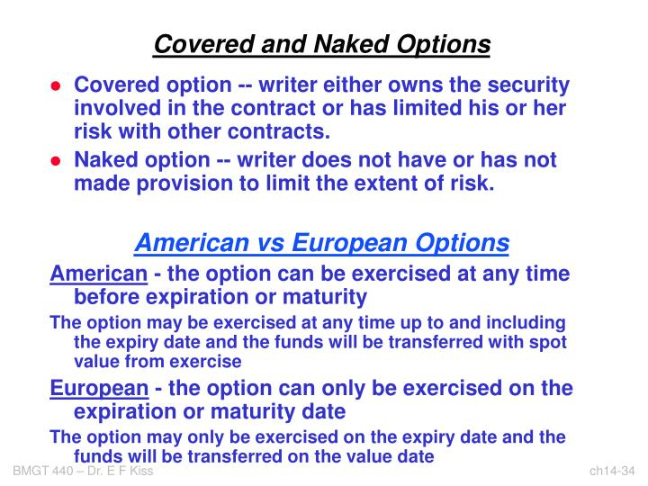 Covered and Naked Options