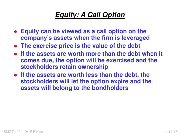 Equity: A Call Option