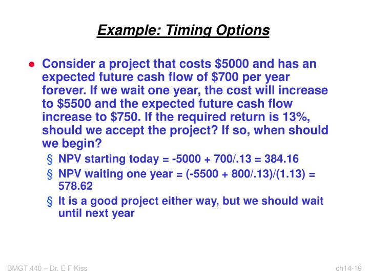 Example: Timing Options