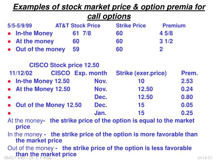 Examples of stock market price & option premia for call options