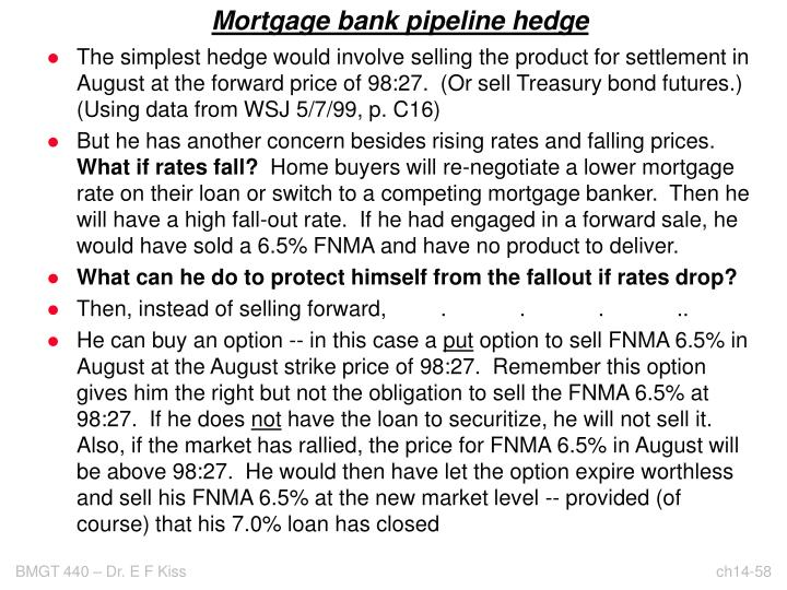 Mortgage bank pipeline hedge