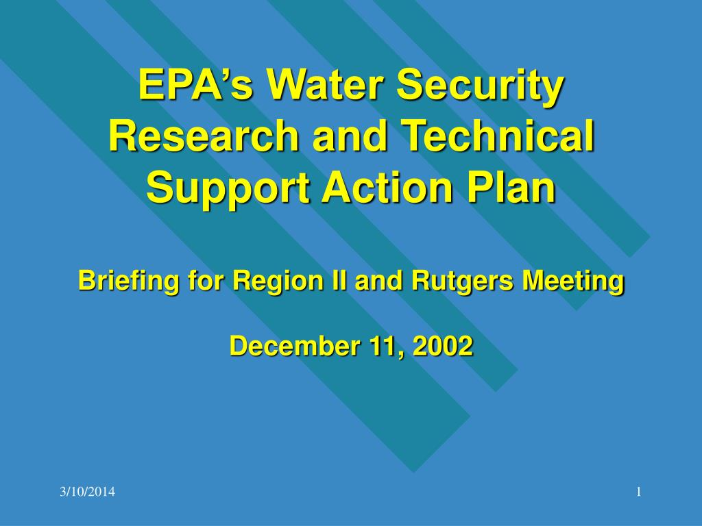 EPA's Water Security  Research and Technical Support Action Plan