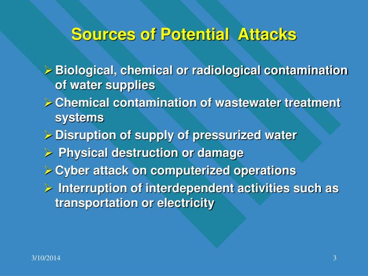 Sources of potential attacks