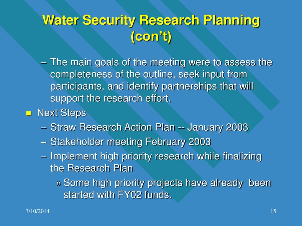 Water Security Research Planning (con't)