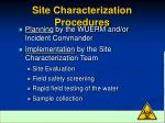 site characterization procedures