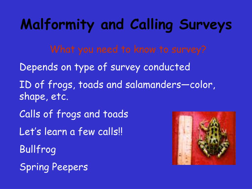 Malformity and Calling Surveys