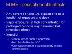 mtbe possible health effects