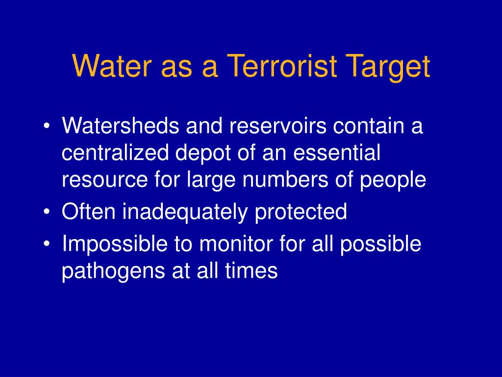 Water as a Terrorist Target