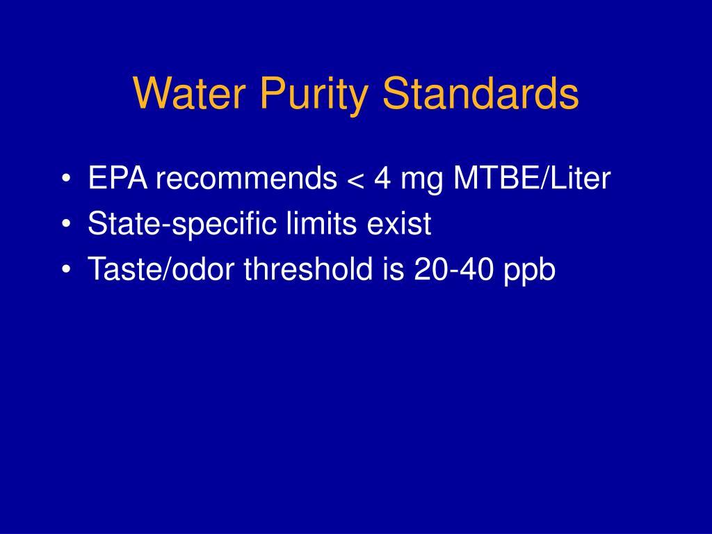Water Purity Standards