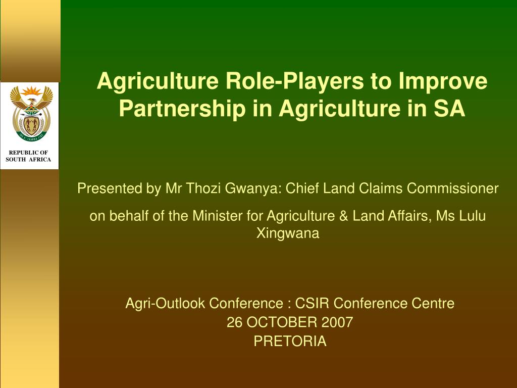 agriculture role players to improve partnership in agriculture in sa l.