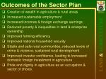 outcomes of the sector plan