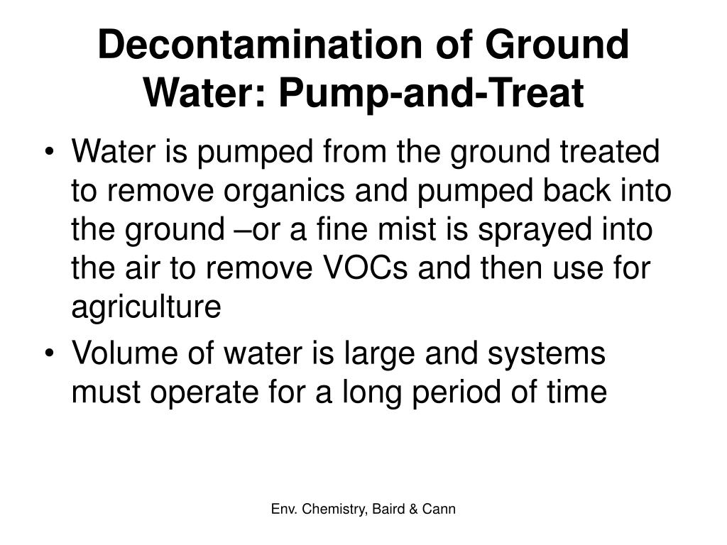 Decontamination of Ground Water: Pump-and-Treat