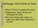 challenges verification of data