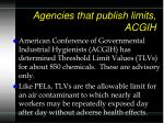 agencies that publish limits acgih
