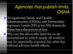 agencies that publish limits osha