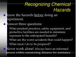 recognizing chemical hazards65