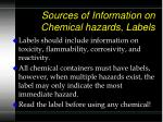 sources of information on chemical hazards labels