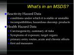 what s in an msds62