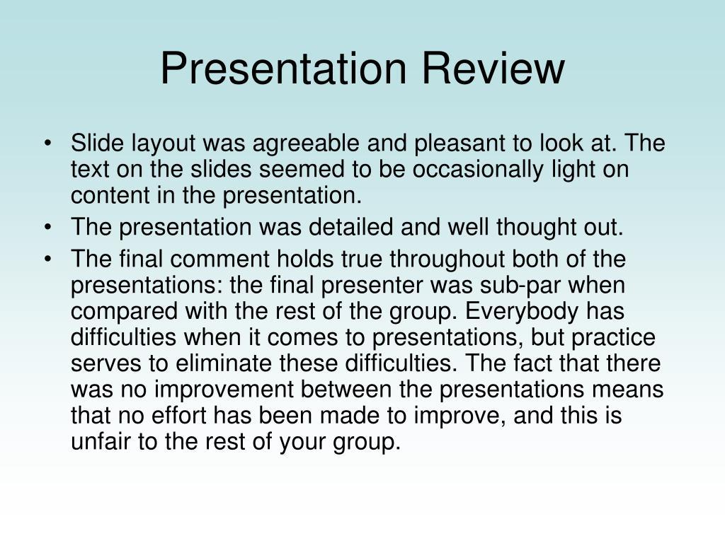 Presentation Review