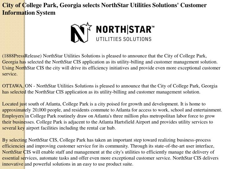City of College Park, Georgia selects NorthStar Utilities Solutions' Customer Information System