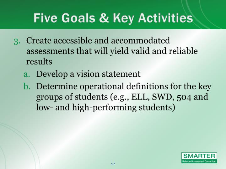 Five Goals & Key Activities