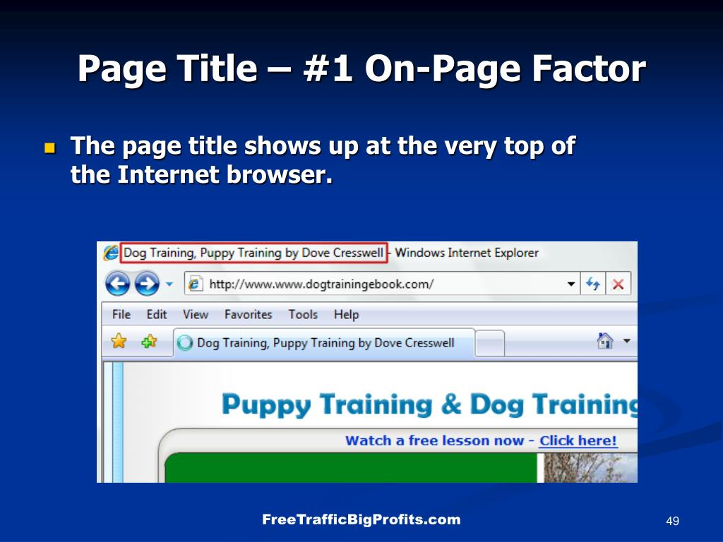 Page Title – #1 On-Page Factor