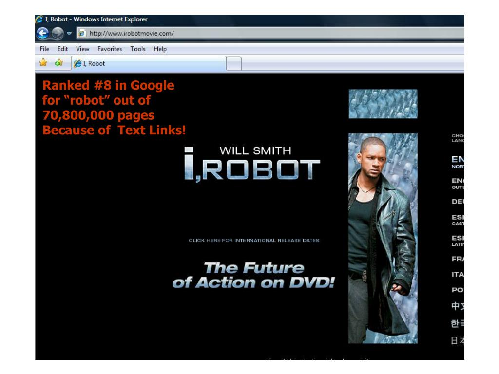 """Ranked #8 in Google for """"robot"""" out of 70,800,000 pages Because of  Text Links!"""