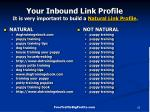 your inbound link profile it is very important to build a natural link profile