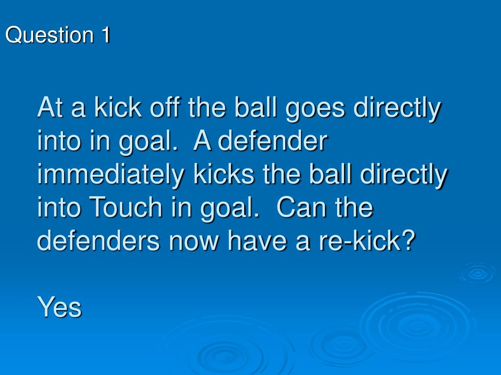 At a kick off the ball goes directly into in goal.  A defender immediately kicks the ball directly into Touch in goal.  Can the defenders now have a re-kick?