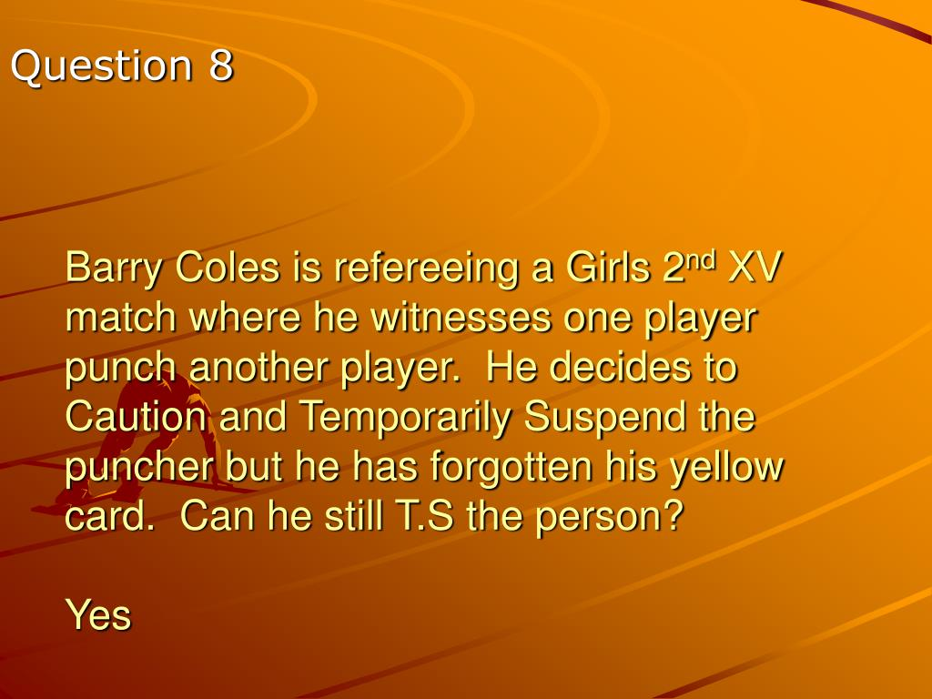 Barry Coles is refereeing a Girls 2