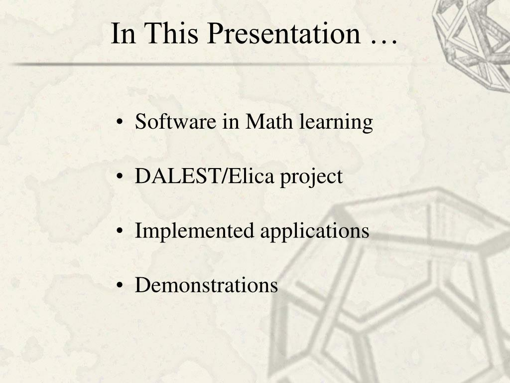 In This Presentation …