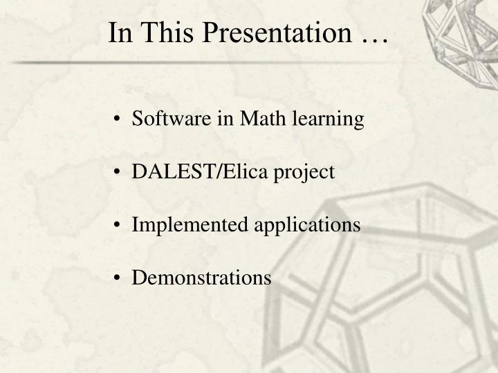 In this presentation