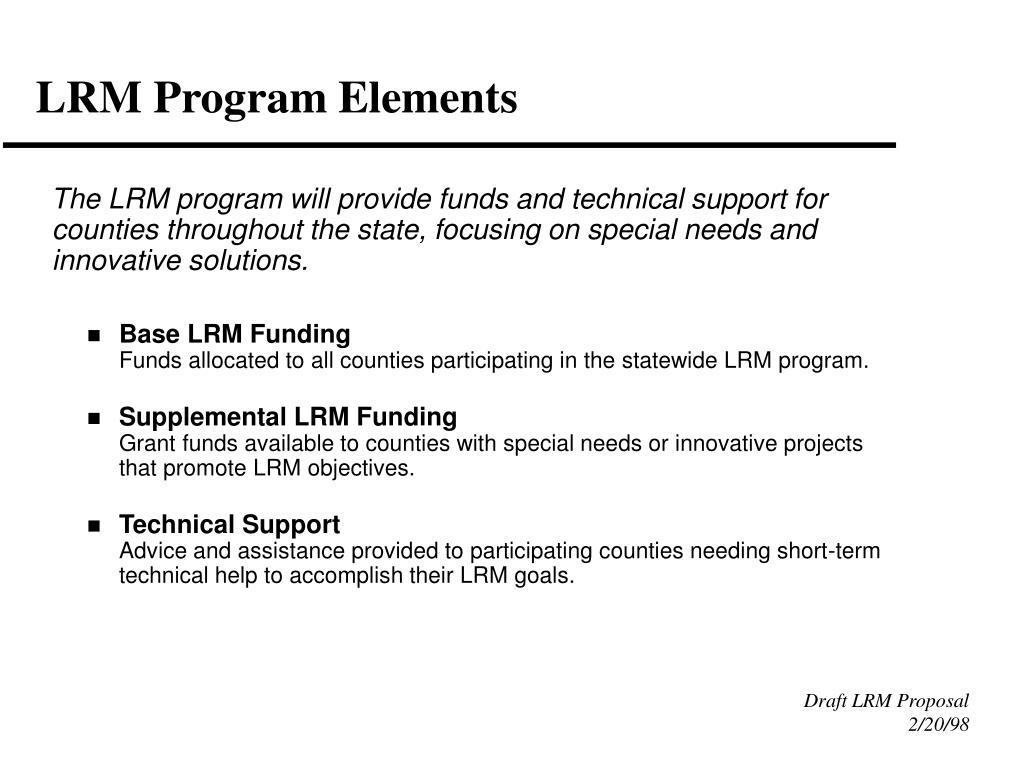 LRM Program Elements