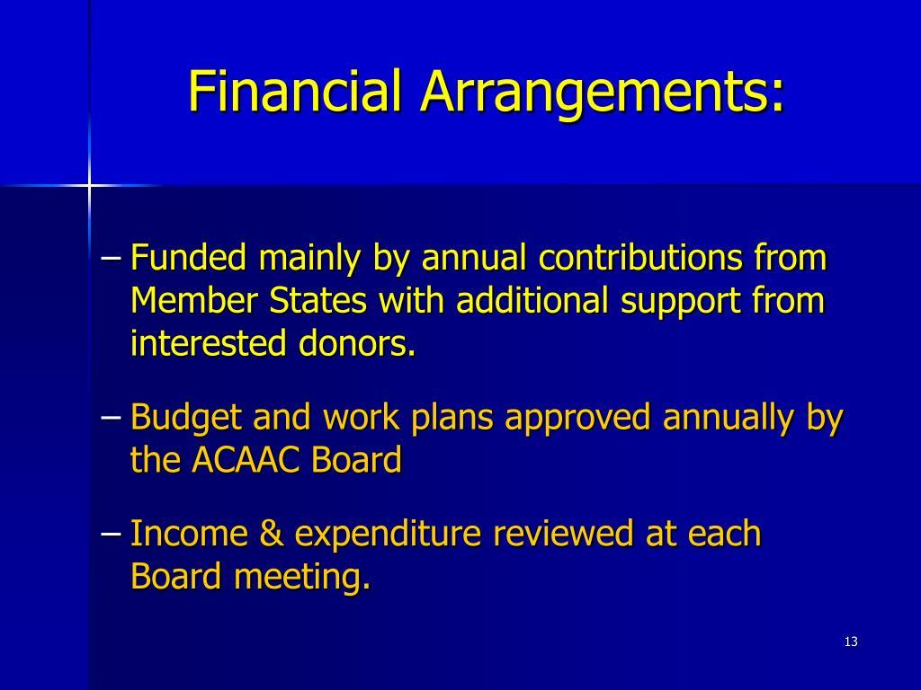 Financial Arrangements: