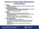summary on status halon replacements in civil aviation