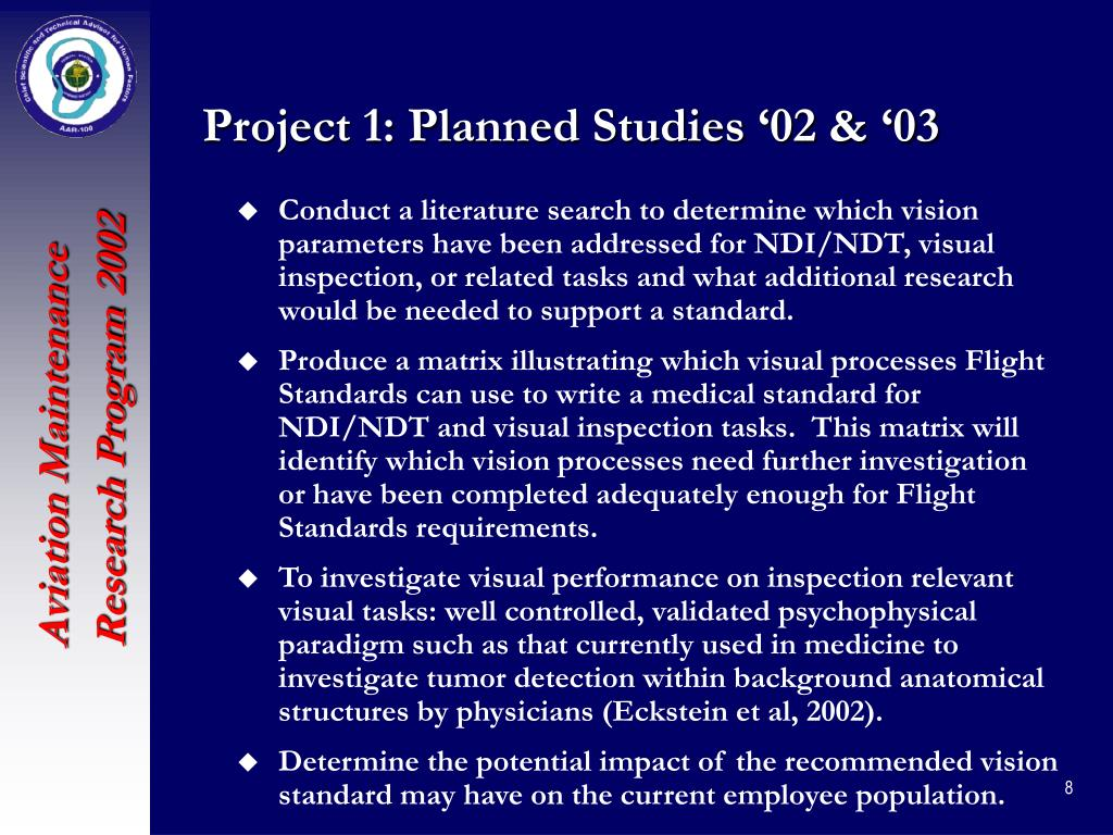 Project 1: Planned Studies '02 & '03