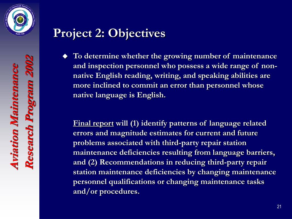 Project 2: Objectives