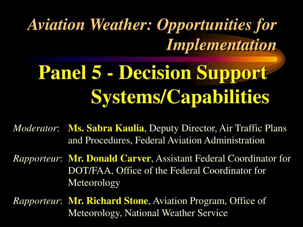aviation weather opportunities for implementation l.