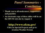 panel summaries conclusion