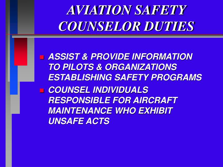 Aviation safety counselor duties3