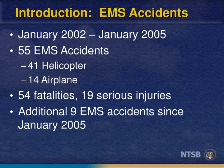 Introduction ems accidents