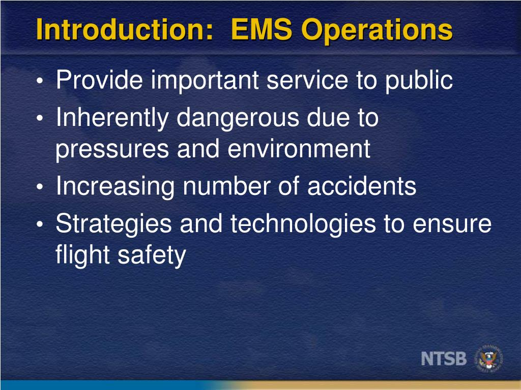 Introduction:  EMS Operations