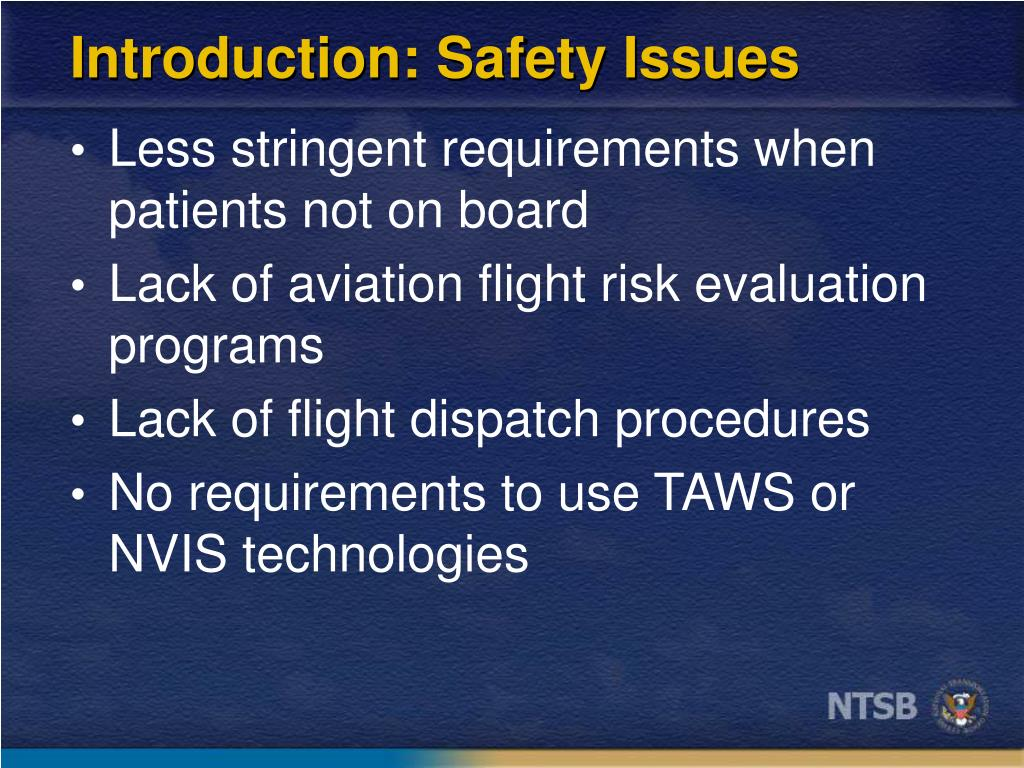 Introduction: Safety Issues